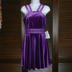 City Triangles Purple Velvet Fit Flare Dress 7 NWT
